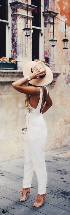 White jumpsuit. So chic!