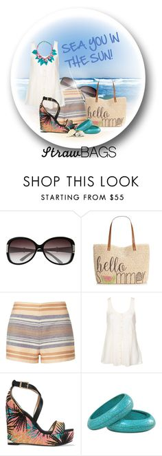 """""""Carry on: Straw Bags"""" by doozer ❤ liked on Polyvore featuring Christian Dior, Style & Co., Solid & Striped, Jimmy Choo and strawbags"""