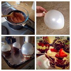 Chocolate, balloon, casket, food, bowl, desert, strawberries, EtonMess,   1)melt chocolate allow to cool for 10mins 2)blow up small balloons (water balloons) 3)roll balloons in chocolate & add dollop to tin foiled tray for base.  4)Place in fridge 5)pop balloon 6) fill and decorate 7) EAT.....!!!!!!  & enjoy.