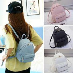 Cute Faux Leather Convertible Small Mini Backpack Rucksack Shoulder bag  Purse 4f684e28e0