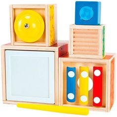 Stacking Music Cubes  Nesting, stacking and then making music, have fun! Make wonderful music and explore melody and rhythm with this innovative Stacking Music Cubes 6 pc Manipulative Activity Set designed by Hape.   #StackingMusicCubes
