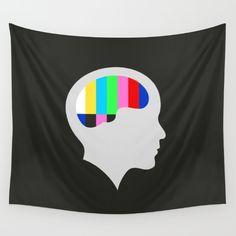 Off Air Wall Tapestry - Silhouette, head, face, brain, shadow, tv, television, off air, bars, color, colour, rainbow, brainwashing, vector, art, design, illustration, illustrator, minimalist