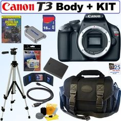 Canon EOS Rebel T3 12.2 MP CMOS Digital SLR Camera (Body) + 16GB Deluxe Accessory Kit by Canon. $349.99. Perfect for photographers ready to make the move to digital SLR photography, the new EOS Rebel T3 delivers beautiful photos and video, speed, simplicity and fun. It features a 12.2 Megapixel CMOS Image Sensor and Canon DIGIC 4 Image Processor for richly detailed images and quick camera response. It has Canon's amazing 63-zone, Dual-layer metering for accurate exposures a...