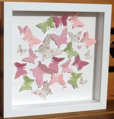 3d pink and green butterfly box picture