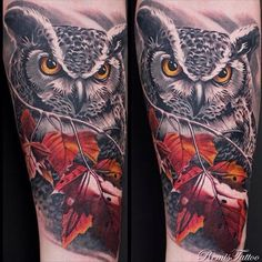 #Owl tattoo by @remistattoo #remistattoo #savemyink
