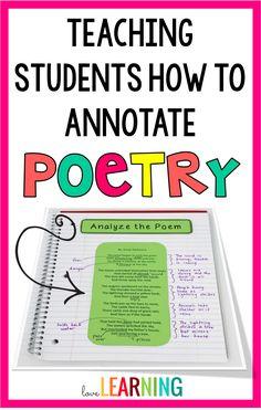 Teaching kids to annotate poetry 6th Grade Ela, 6th Grade Reading, Middle School Reading, 5th Grade Poetry, Sixth Grade, 7th Grade Writing, Education Middle School, Middle School English, Fourth Grade