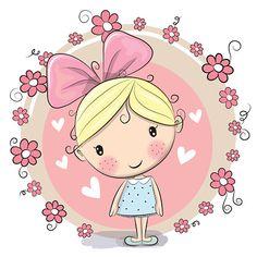 Menina e flores - ilustração de arte em vetor
