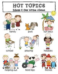 """""""Hot Topics"""" for kids to write about... it makes a nice poster, too!  :)  $1.00"""