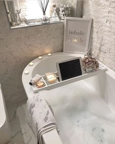 Cannot wait to get in here and try out my new Elemis enzyme face peel After bei. - Home Design Relaxing Bath, Dream Bathrooms, Bathroom Inspiration, Bathroom Ideas, Shower Ideas, House Rooms, Bathroom Interior, Home Interior Design, Bedroom Decor