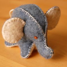Blue Felted Lucky Elephant Toy Pure Wool Handmade Felt--Ecofriendly Small Soft Animal. $18,00, via Etsy.