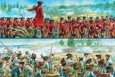 Magnífica lámina de Peter Dennis mostrándonos desde ambas perspectivas el combate de una línea de casacas rojas contra otra de fusileros franceses durante la Guerra de los Siete Años. La mejor colección de láminas militares en http://www.elgrancapitan.org/foro/