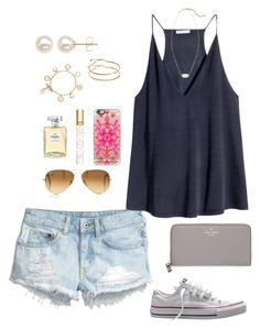 """""""Blue, Gray, Gold, & White"""" by willard-lax-prep ❤ liked on Polyvore featuring H&M, Converse, Honora, Kendra Scott, ASOS, Tory Burch, Casetify, Chanel, Ray-Ban and Kate Spade"""