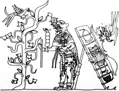 """The Maya Merchant God (""""Ek Chuah"""") near a cacao tree (Cacaxtla, Mexico, 900 AD)  Learn more about the history of chocolate:  http://www.worldstandards.eu/chocolate%20-%20history.html"""