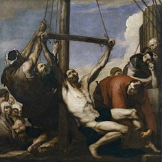 JOSE DE RIBERA: The Martyrdom of Saint Philip, 1639, 234 cm x 234 cm. Prado, Madrid. This is one of the must disturbing representations of martyrdom in all of Baroque painting. The luminous background, light colors and mastery of the diagonal composition are characteristic of Ribera's works.