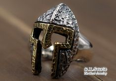 Silver-Brass Spartan Ring, Rustic Warriors Helmet Ring, Spartan Helmet Ring, Open Ring, Wide Open Ring Band, Wholesale Available