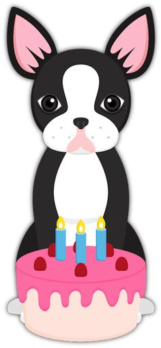 Boston Terrier Birthday Cake from Boston Terrier Lover Emoji Stickers for iMessage For Puppy and Dog Lovers. #bostonterrier #bostonterriercult #cake #birthdaycake