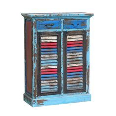 Rustic Cabinet Blue Multi