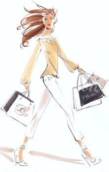 Shopping Ensemble in Cream and Cafe au Lait Fashion Sketch. Discover and shop your favorite fashions right on your phone. Download our app at getrockerbox.com.
