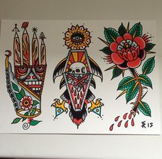 Ideas For Tattoo Traditional Design Leg Tattoos, Arm Tattoo, Body Art Tattoos, Flash Tattoos, Tattoo Ink, Traditional Tattoo Old School, Traditional Tattoo Design, Sailor Jerry, Old School Rose