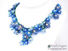 Bead Origami: Forget Me Not Bouquet Necklace