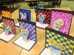 "4th grade pop up art an interpretation of Van Gogh's ""Sunflower""."