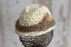 Beige with Brown Trim Crochet Fedora Hat by LittleBittieBoutique, $26.00