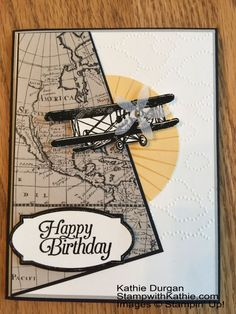 I love the addition of the propeller cut from vellum and the map in the background.  Stampin' Up! The Sky is the Limit                                                                                                                                                     More