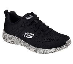 Strike quickly in style and comfort with the SKECHERS Burst - Be Brave shoe.  Skech-Knit Mesh fabric upper in a lace up fashion athletic comfort sneaker with interwoven, nearly seamless design.  Air Cooled Memory Foam insole, Burst midsole.