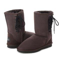Choc Short Lace Up UGG Boots #choc #chocolate #laces #short #ugg #boots #uggboots #aussie #australian #australia #sheepskin