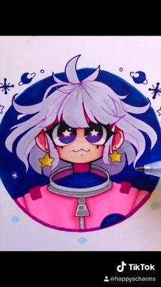 Pink astronat girl drawing Tik Tok. White haired girl wearing pink space suit and gold star earrings. Happys charms original character art. Anime Drawings Sketches, Cool Art Drawings, Kawaii Drawings, Cartoon Drawings, Cute Art Styles, Cartoon Art Styles, Arte Copic, Arte Indie, Art Inspiration Drawing