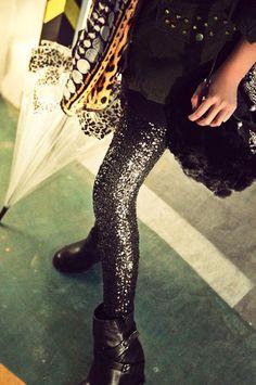 Wholesale Shimmering Sequin Thicken Skinny Leggings For Women (BLACK,ONE SIZE), Leggings - Rosewholesale.com