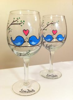 """Love Birds"" Hand-Painted Wine Glasses. $40.00, via"