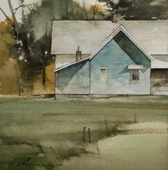 """2013, Shadow Blue by Joseph Alleman Watercolor ~ 7"""" x 7"""""""