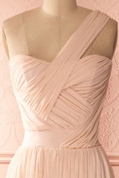 Lissandra - Light pink draped one-shoulder gown