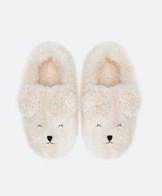 Pompom bear slippers - OYSHO