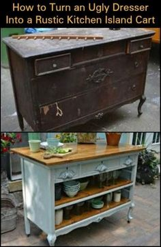 Create Extra Storage and Counter Space by Turning an Ugly Dresser into a Rustic Kitchen Island Cart by lucinda furniture living room furniture kitchen furniture ideas furniture log Refurbished Furniture, Repurposed Furniture, Shabby Chic Furniture, Rustic Furniture, Furniture Makeover, Home Furniture, Furniture Design, Furniture Ideas, Barbie Furniture