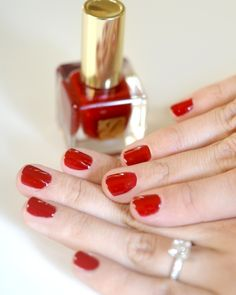 red manicure... always my favorite with short nails
