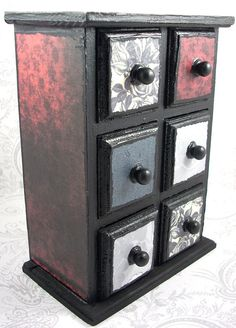 Gothic Red, Gray And Black Roses Stash Jewelry Box