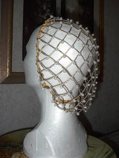 Renaissance Headdress LargrSZ Corded NEW Gold Caul SNOOD Pearls EverAfter Hair Net Dressing. $46.99, via Etsy.