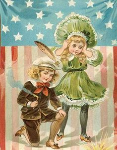 victorian 4th of july   Children with Fireworks - many more Fourth of July Victorian postcard ...
