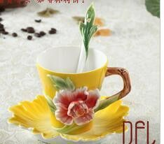 Peony Coffee Mug Enamel Hand-painted Bone China Drinkware Creative Milk Tea Cup Set