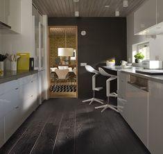 Black Laminate Flooring, Black Hardwood Floors, Wood Tile Floors, Engineered Wood Floors, Wood Laminate, Plank Flooring, Kitchen Flooring, Wood Paneling, Modern Flooring