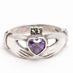 Sterling Silver Claddagh Ring with Amethyst and Marcasite Ring Vintage Jewelry, Vintage Bracelet #affiliate