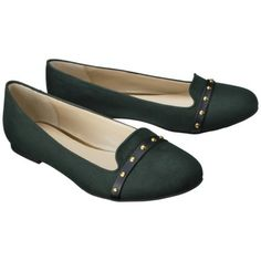 Women's Mossimo Supply Co. Voneta Studded Smoker Flat in Forest Microsuede, Clearance for $10.98 at Target