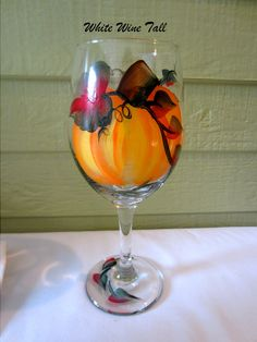 pumpkins painted on glass | Fall Pumpkins and Leaves Hand Painted Wine Glasses Wedding