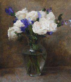 """Michael Klein """"White Roses with Blue Irises"""" 17.5″x15″"""