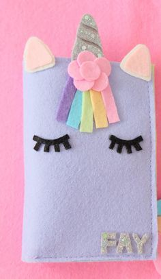 Personalized passport cover This item made from felt. it can be made to fit with. Felt Crafts Diy, Felt Diy, Cute Crafts, Diy Crafts For Kids, Arts And Crafts, Paper Crafts, Felt Phone Cases, Felt Case, Unicorn Birthday