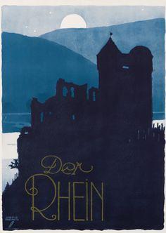 Poster by Ludwig Hohlwein,ca 1930,  Der Rhein. (G)