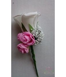 Corsage Roos Speirwit+Pink CEM144