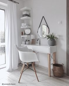 Wall mirror Liz- Wandspiegel Liz Get ready with style! The wall mirror Liz fits perfectly with its round design into this simple, yet very elegant make-up corner! Sch: // make-up table makeup mirror round chair storage ideas furnishing Scandinavian - Study Room Decor, Room Makeover, Aesthetic Room Decor, Room Ideas Bedroom, Interior, Home Decor, Room Inspiration, House Interior, Room Decor